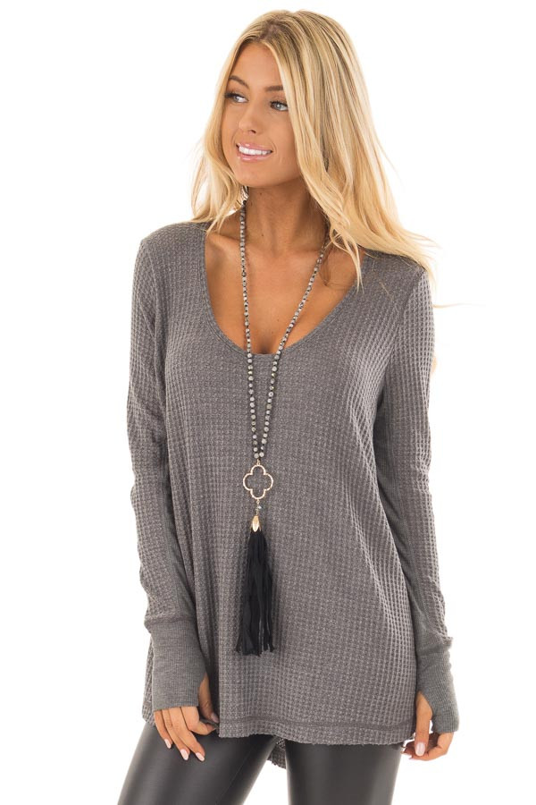 Charcoal Hi-Low Waffle Textured Long Sleeve Top front close up