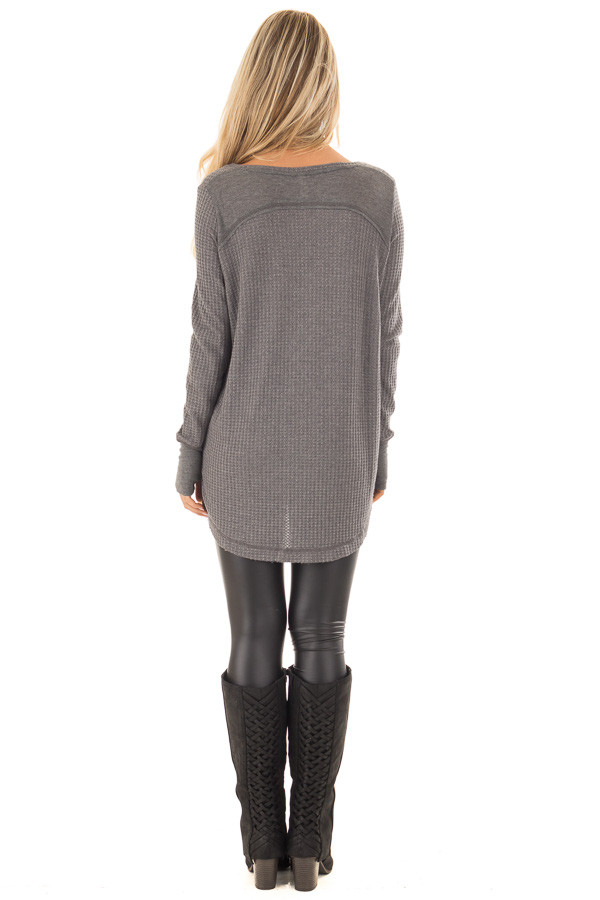 Charcoal Hi-Low Waffle Textured Long Sleeve Top back full body