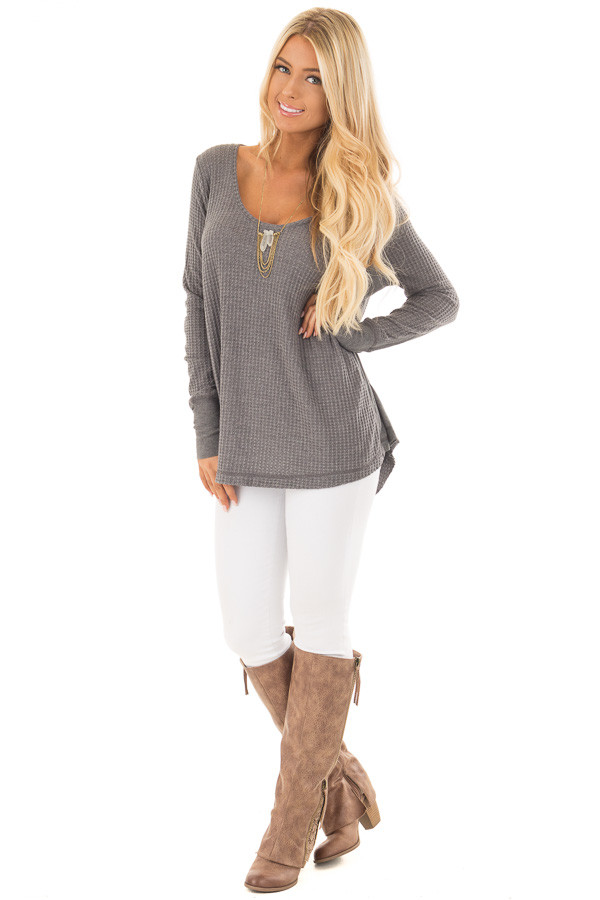 Charcoal Hi-Low Waffle Textured Long Sleeve Top front full body
