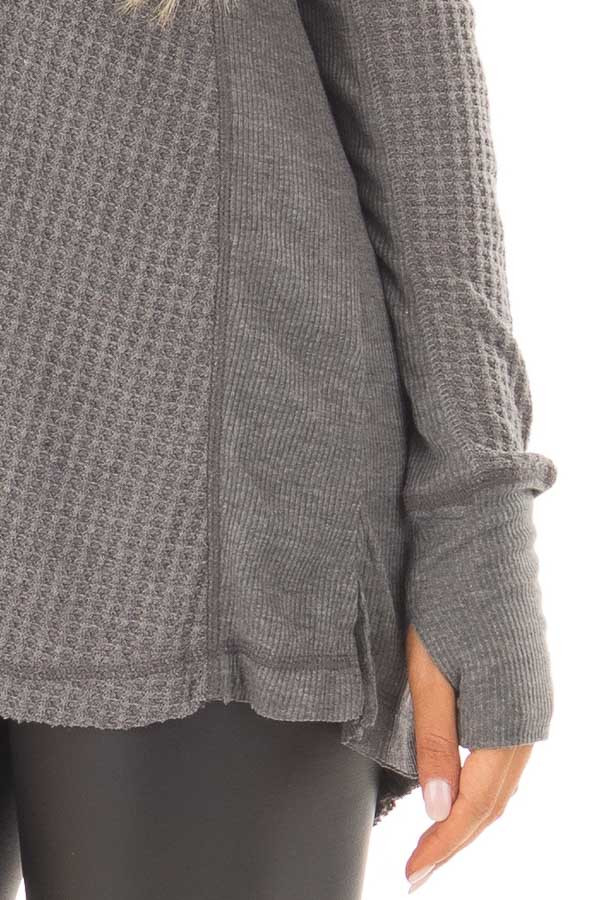 Charcoal Hi-Low Waffle Textured Long Sleeve Top detail