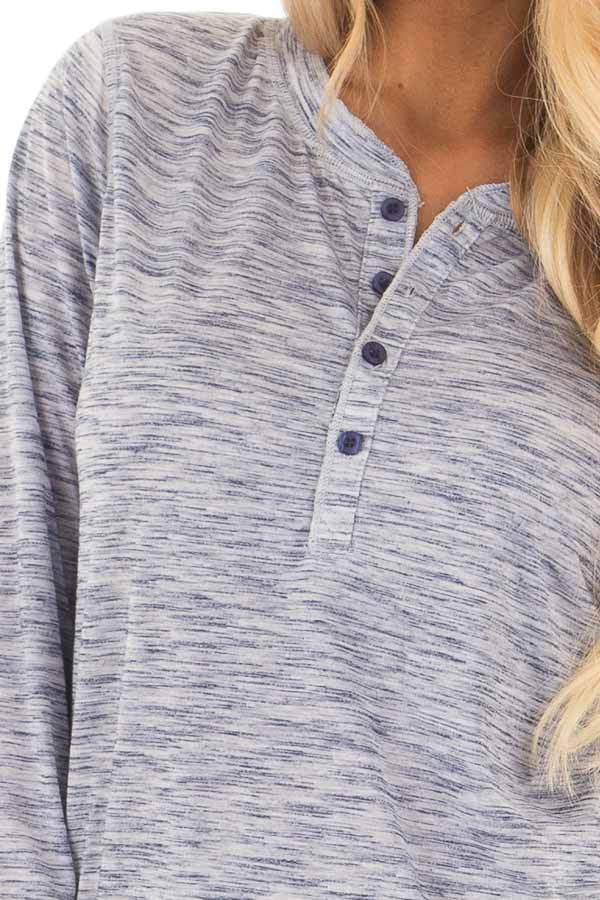 Denim Blue Two Tone Henley Long Sleeve Tee detail