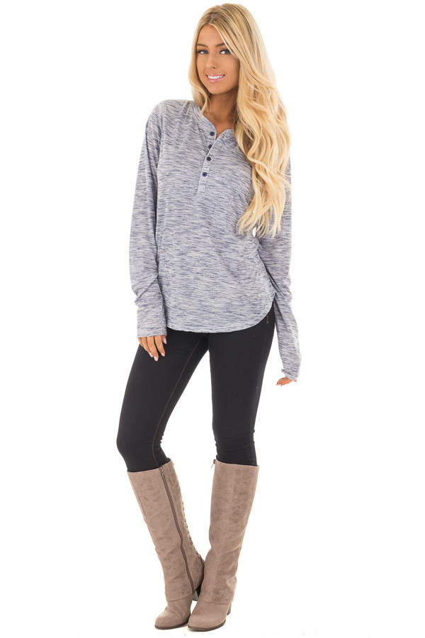 Denim Blue Two Tone Henley Long Sleeve Tee front full body