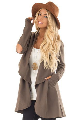 Olive Thick Cardigan with Cutout Elbows and Side Pockets front close up