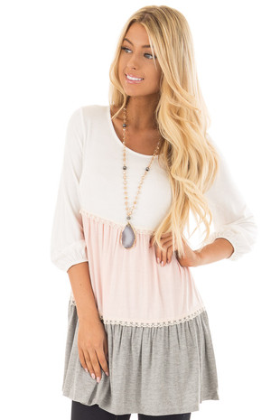 Ivory Color Block Baby Doll Top with Lace Trim front close up