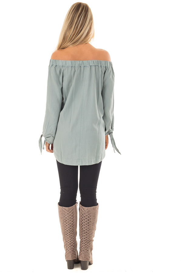 Dusty Mint Off the Shoulder Top with Sleeve Tie Details back full body