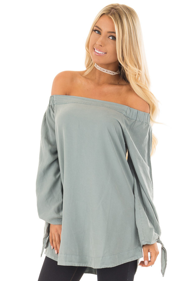 Dusty Mint Off the Shoulder Top with Sleeve Tie Details front close up