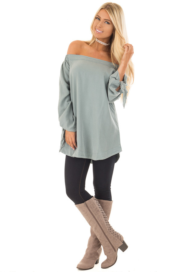 Dusty Mint Off the Shoulder Top with Sleeve Tie Details front full body