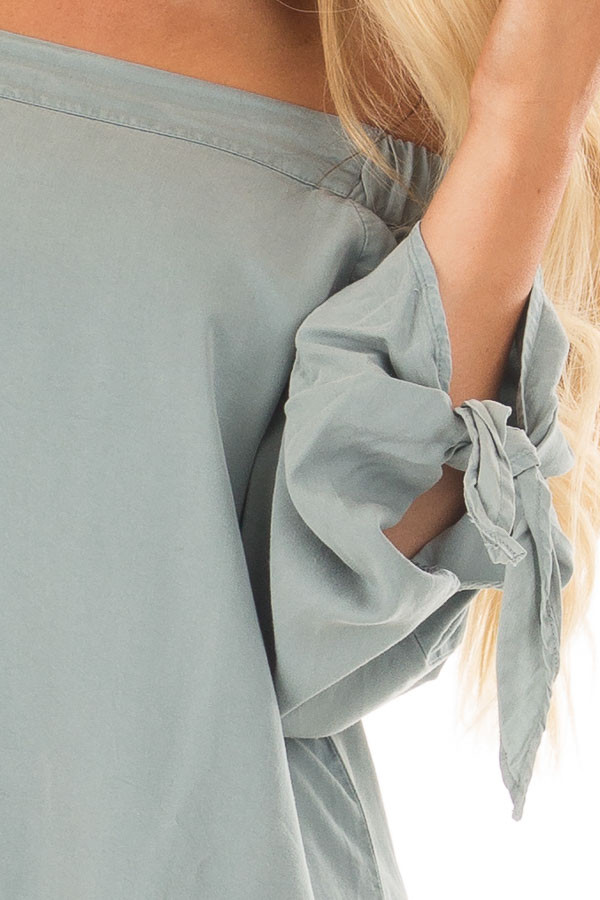 Dusty Mint Off the Shoulder Top with Sleeve Tie Details detail