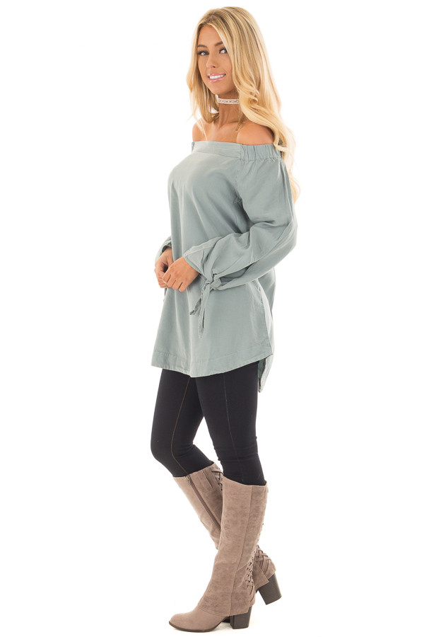 Dusty Mint Off the Shoulder Top with Sleeve Tie Details side full body