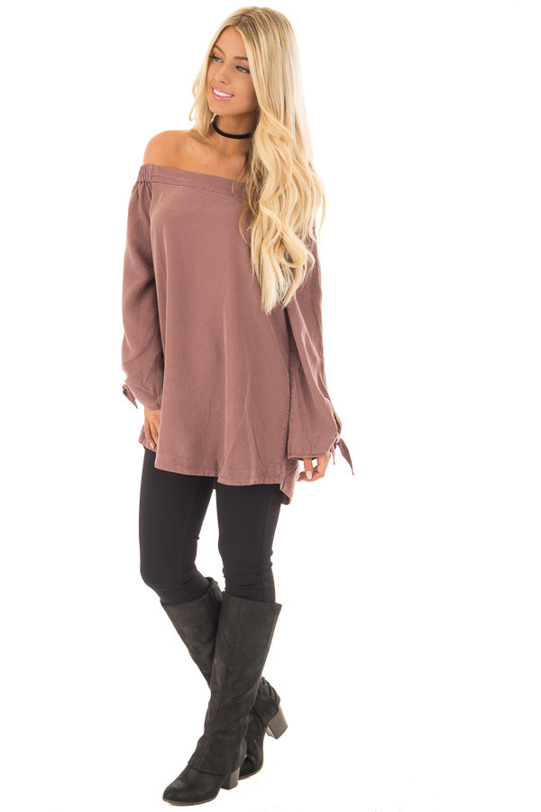 Brick Off the Shoulder Top with Sleeve Tie Details front full body