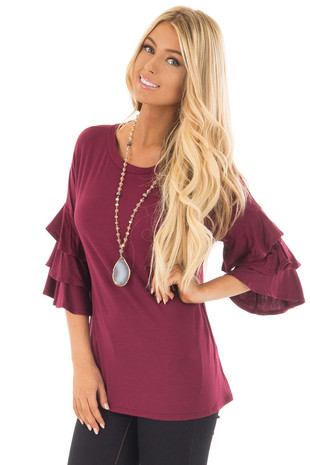 Wine Tee Shirt with Tiered Ruffle Sleeves front close up