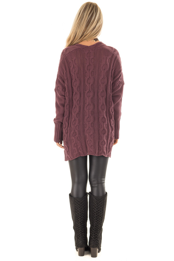 Deep Burgundy Cable Knit V Neck Oversized Sweater back full body