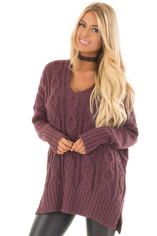 Deep Burgundy Cable Knit V Neck Oversized Sweater front close up