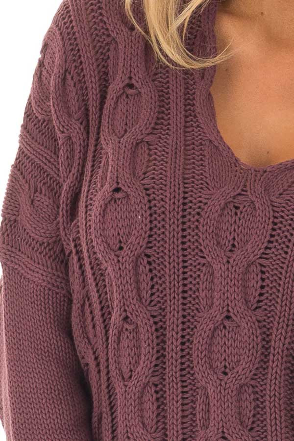 Deep Burgundy Cable Knit V Neck Oversized Sweater detail