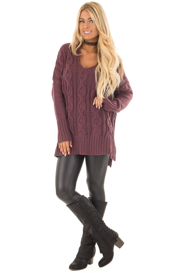 Deep Burgundy Cable Knit V Neck Oversized Sweater front full body
