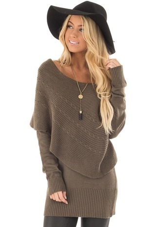 Olive Knit Sweater with Fold Over Cable Knit Shawl front close up