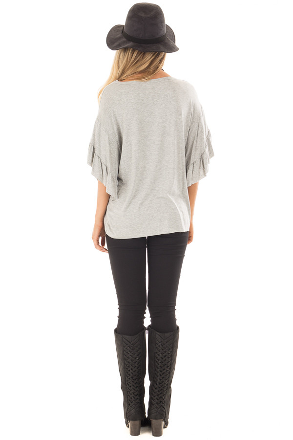 Heather Grey Ruffle Layer Bell Sleeve Top back full body