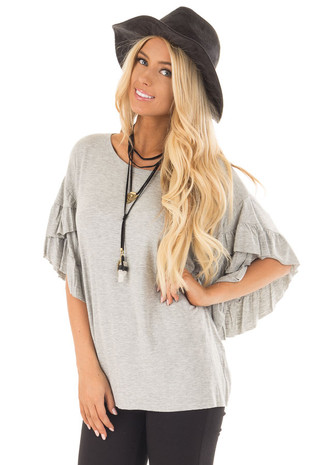 Heather Grey Ruffle Layer Bell Sleeve Top front close up
