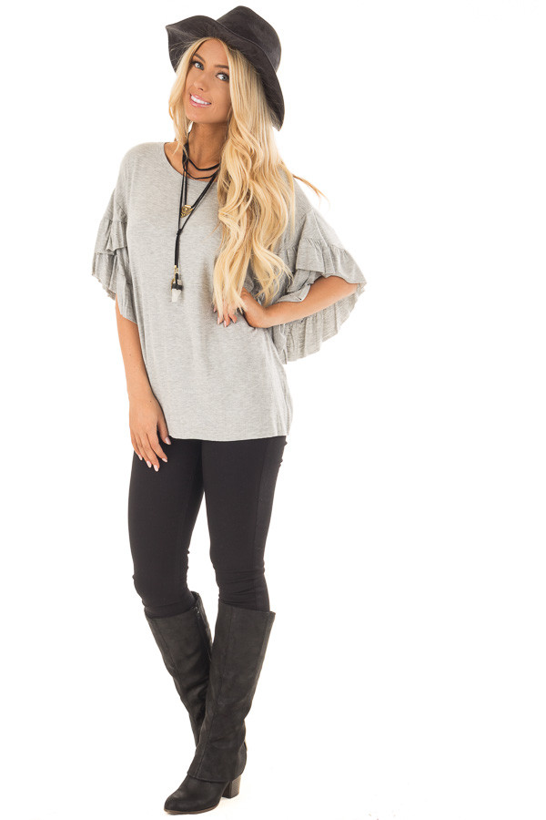 Heather Grey Ruffle Layer Bell Sleeve Top front full body