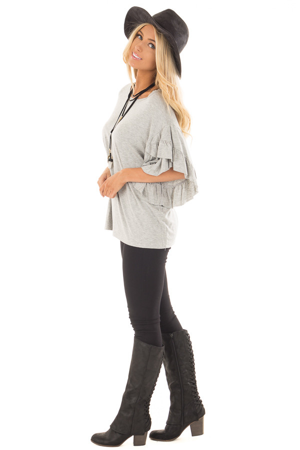 Heather Grey Ruffle Layer Bell Sleeve Top side full body