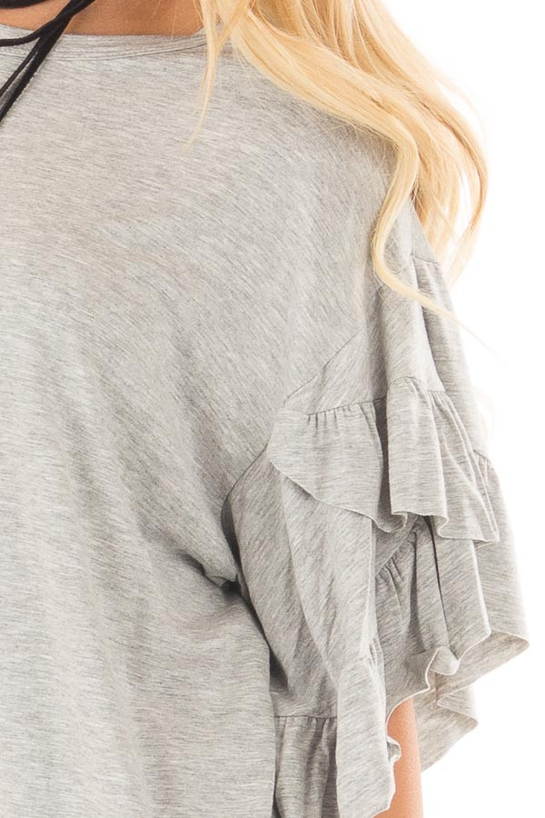 Heather Grey Ruffle Layer Bell Sleeve Top detail