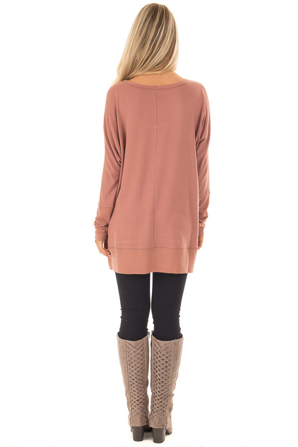 Dusty Clay Cold Shoulder Cut Out Long Sleeve Top back full body