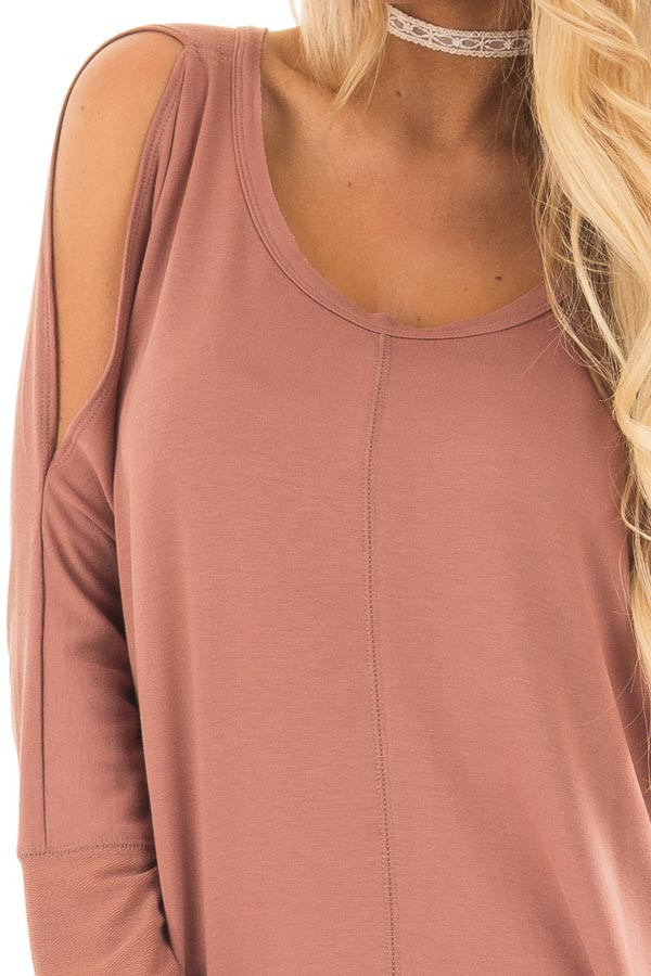 Dusty Clay Cold Shoulder Cut Out Long Sleeve Top detail