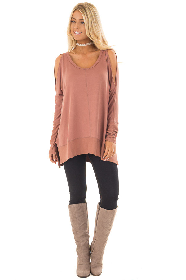 Dusty Clay Cold Shoulder Cut Out Long Sleeve Top front full body