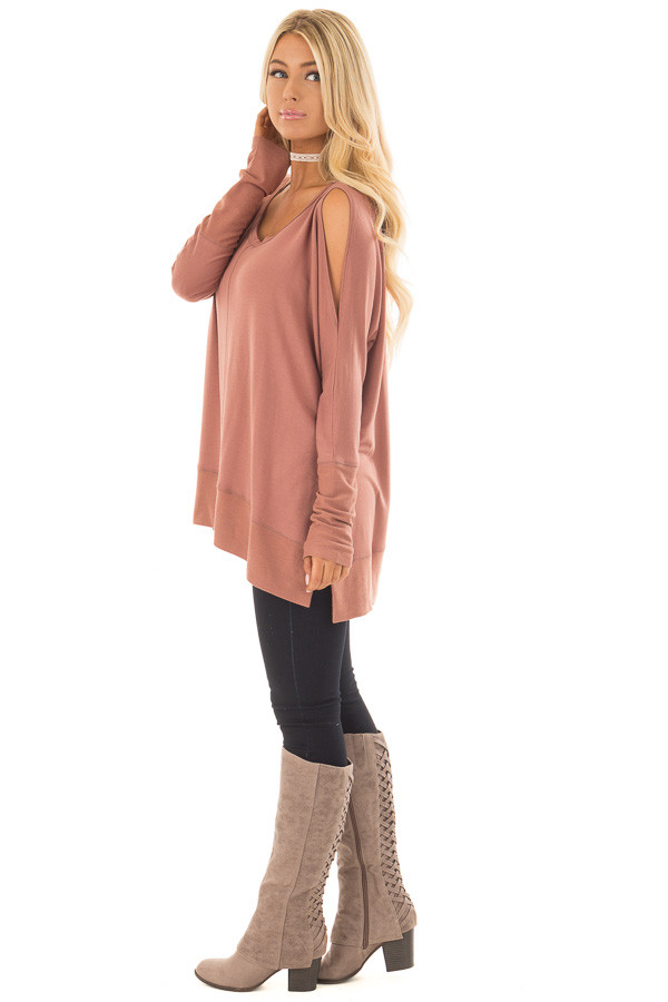 Dusty Clay Cold Shoulder Cut Out Long Sleeve Top side full body