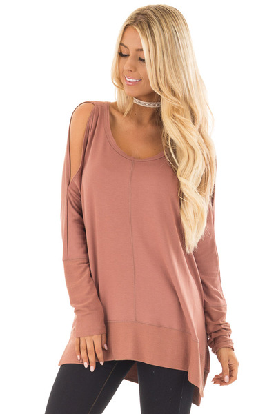 Dusty Clay Cold Shoulder Cut Out Long Sleeve Top front close up