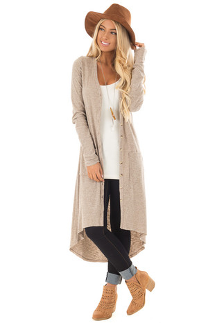 Oatmeal Ribbed Hi Low Long Cardigan with Pockets front full body