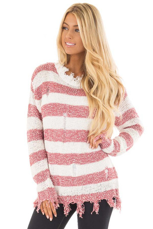 Red Distressed Striped Long Sleeve Sweater front close up