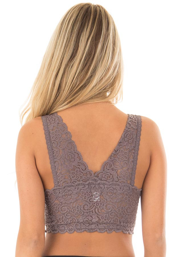 Dusty Lilac Sheer Back Lace Bralette back close up