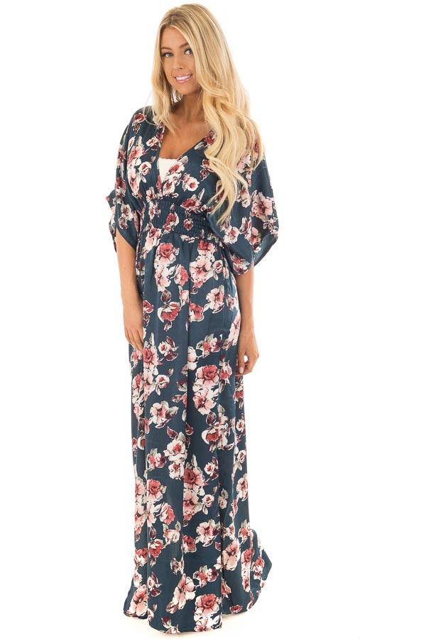 Dark Teal Floral Print Satin Maxi Dress with Side Slit Detail front full body
