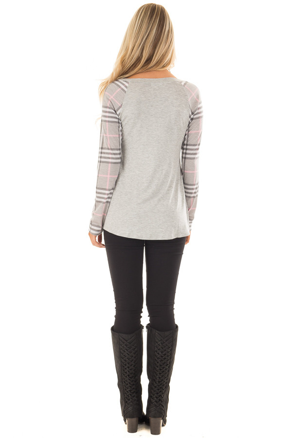 Heather Grey Raglan Plaid Long Sleeve Top back full body