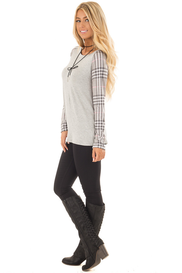Heather Grey Raglan Plaid Long Sleeve Top side full body