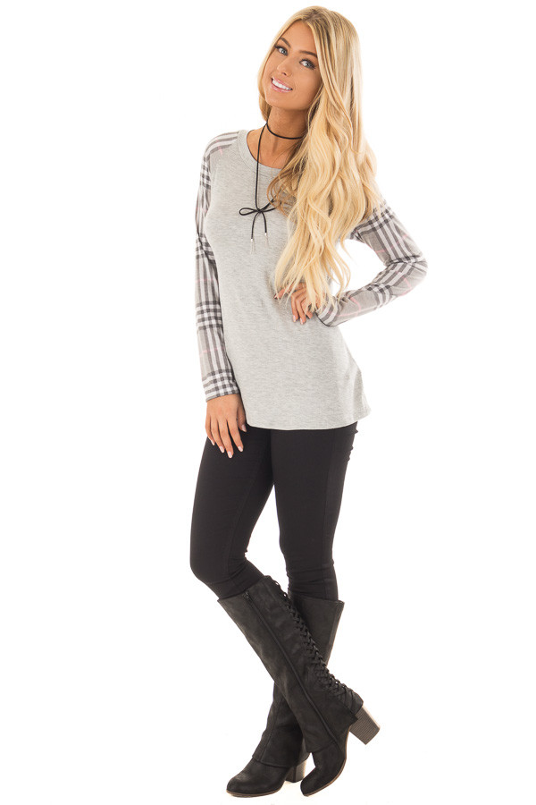 Heather Grey Raglan Plaid Long Sleeve Top front full body