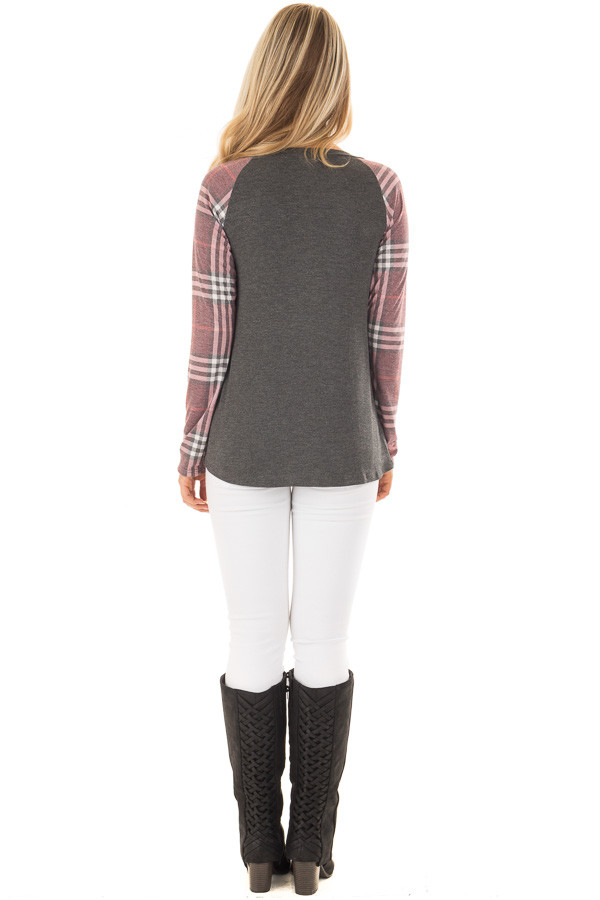 Charcoal with Wine Raglan Plaid Long Sleeve Top back full body