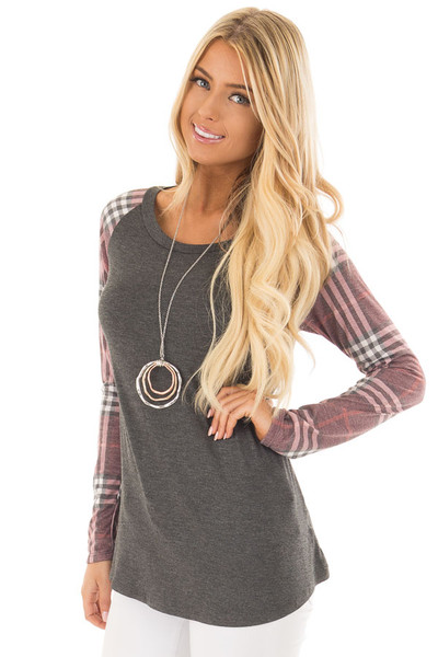 Charcoal with Wine Raglan Plaid Long Sleeve Top front close up