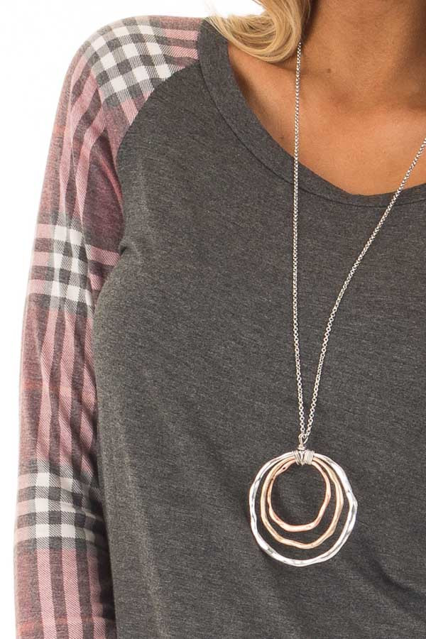 Charcoal with Wine Raglan Plaid Long Sleeve Top detail