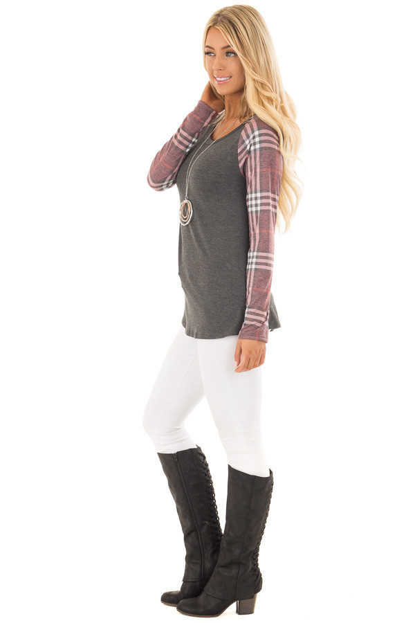 Charcoal with Wine Raglan Plaid Long Sleeve Top side full body