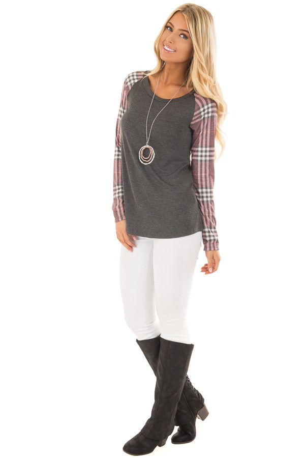 Charcoal with Wine Raglan Plaid Long Sleeve Top front full body