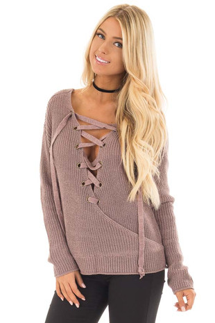 Rose Mocha Lace Up Surplice Sweater with Open Back Detail front close up