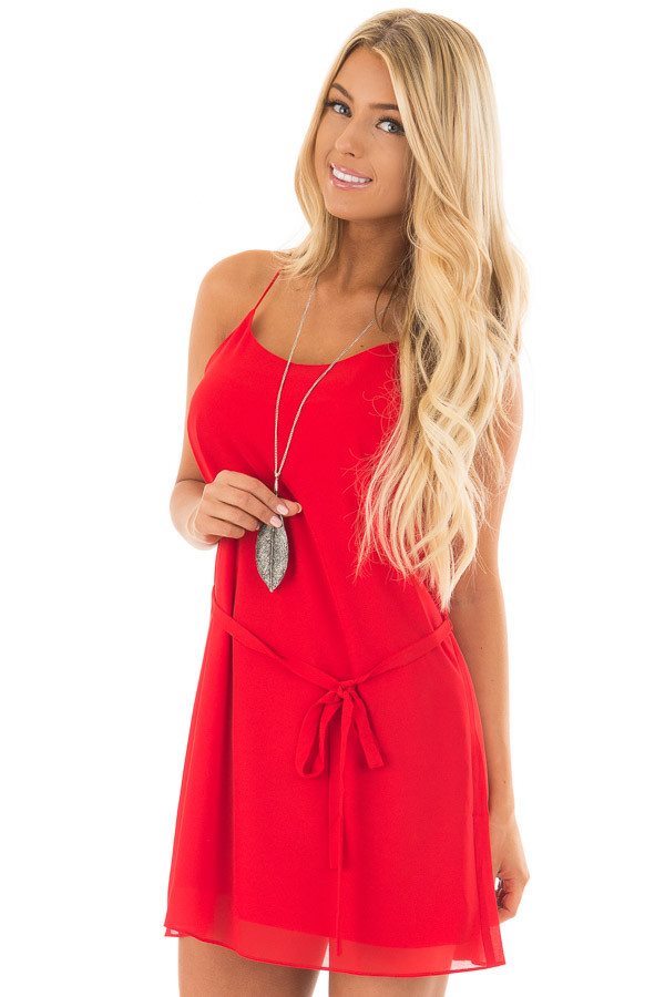 Lipstick Red Racerback Short Dress with Waist Tie Detail front close up