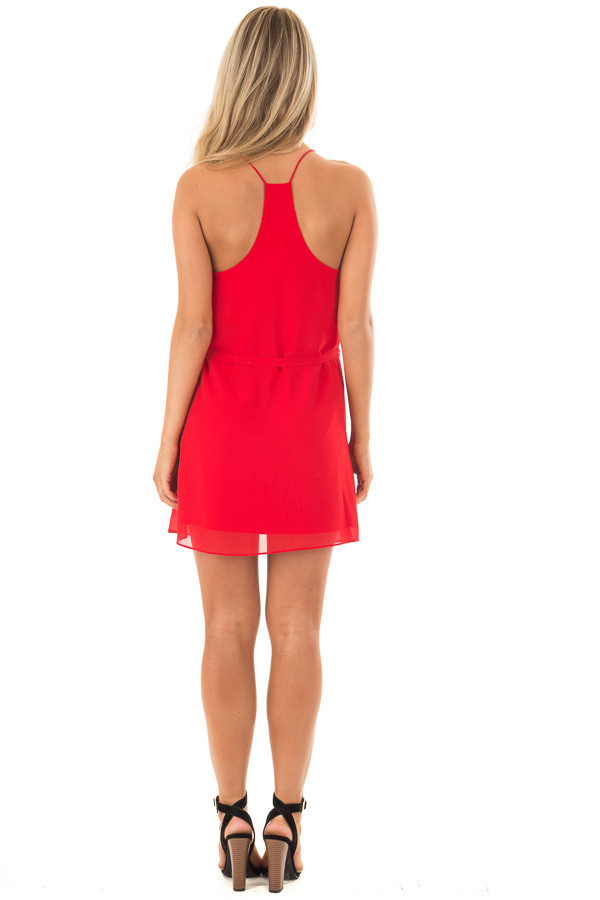 Lipstick Red Racerback Short Dress with Waist Tie Detail back full body