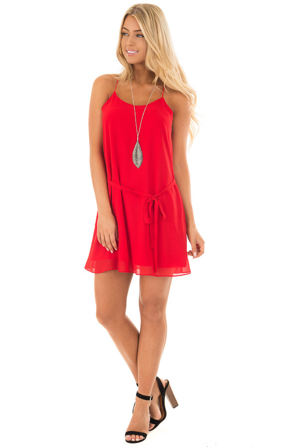 Lipstick Red Racerback Short Dress with Waist Tie Detail front full body