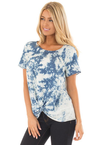 Navy and White Cloud Tie Dye Top with Front Twist Detail front close up
