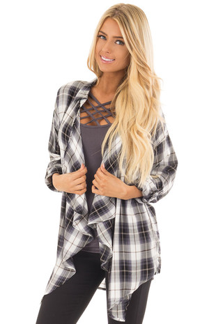 Stormy Grey Plaid Open Drape Lightweight Cardigan front close up