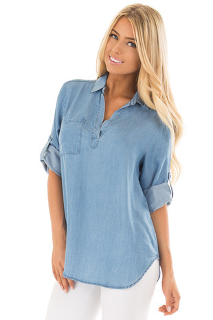Vintage Blue Chambray Shirt with Split Neckline and Pocket front close up