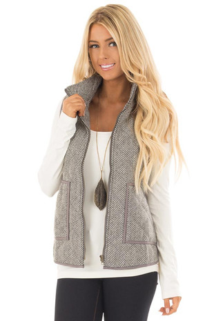 Grey Patterned Vest with Front Pockets and Zipper Closure front close up